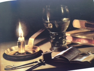 Pieter Claesz Still Life with Lighted Candle (1627) The candle with its brass holder, the open book and the spectacles, are all reflected clearly in the half-filled wine glass