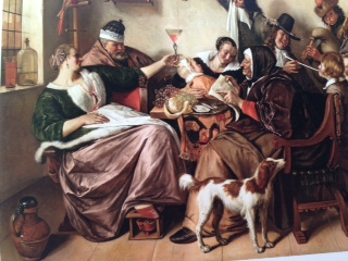 Jan Steen As the Old Sing, So Twitter the Young (1668-1670) A commentary on the older generation corrupting the young with their own immoral living. Artist is in Black hat to right, teaching son to smoke, while artist's wife is woman at far left, in sumptuous clothes & fur, holding glass up for more wine.