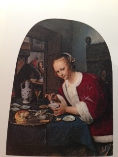 "Jan Steen The Oyster Eater (1658-1660) Painted on wood panel rather than on canvas, the wood-grain showed through the pain in some spots behind girl. Only about 8x5"" but incredibly detailed."