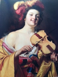 "Gerrit Van Honthorst The Violin Player considered to be a prostitute because of amount of bare skin, violin held ""French style"" - against shoulder - because instrument not held in great regard (1626)"