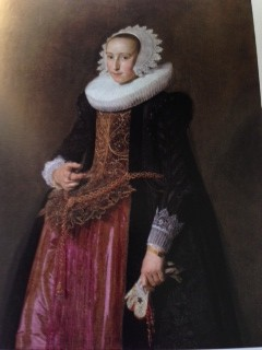 Franz Hals Portrait of Aletta Hanemans, with painting lighter where family later added crest in corner, removed during restoration (1625)