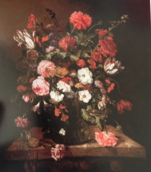 Abraham Van Beyeren Flower Still Life with Timepiece (1663-1665) A reflection of the artist's studio windows appears in the glass vase