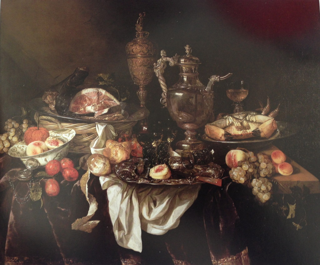 Abraham Van Beyeren Banquet Still Life (after 1655) A reflection of the artist at his easel painting this still life is on the coffee urn