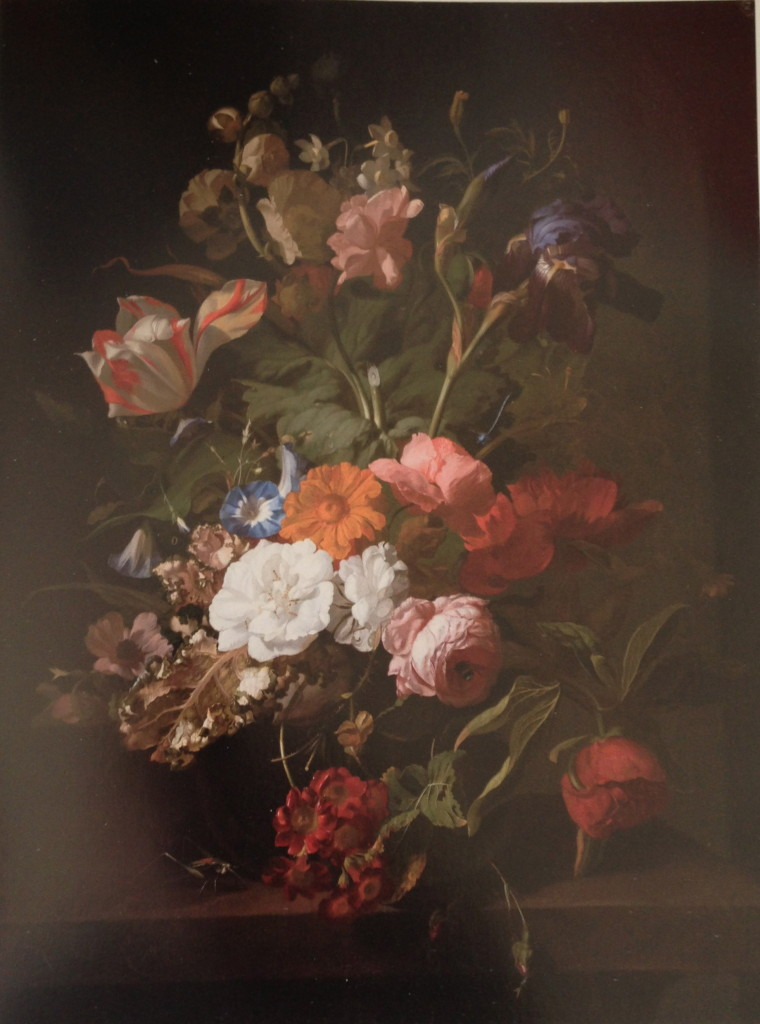 "Rachel Ruysch Vase of Flowers (1700) The only female artist in show, considered a ""phenomenon"" in her day, her painting shows wilted flowers along with fresh ones."