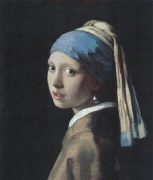 Johannes Vermeer Girl with a Pearl Earring after restoration, as they believe it looked when originally painted, from a different angle (1665)