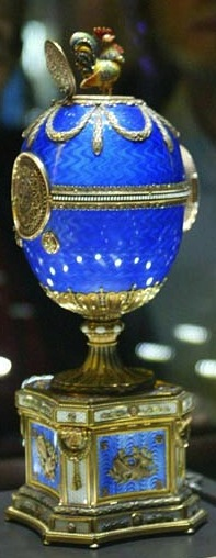 The Baroque Cockerel, or Cuckoo, Faberge Imperial Easter egg (Charlottenburg Palace in Berlin), one of six Faberge Imperial Easter eggs with embedded mechanics, which reveals a bird flapping its wings and crowing