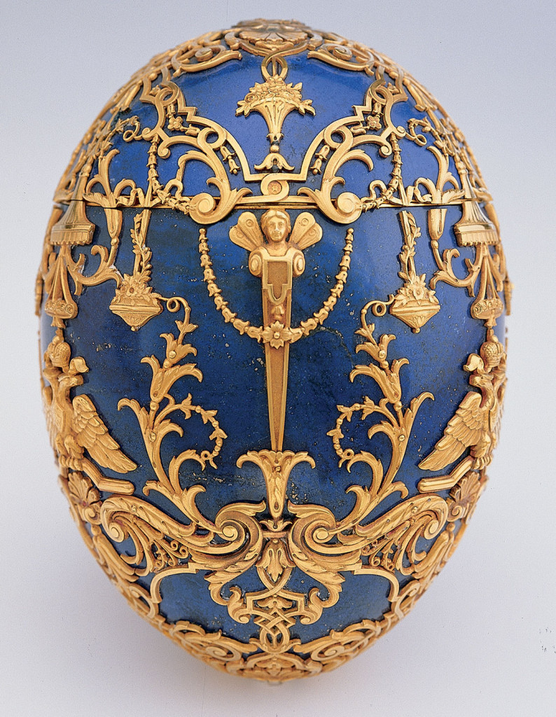 Imperial Czarevich Easter Egg 1912 Lapis lazuli, gold, diamonds, platinum or silver