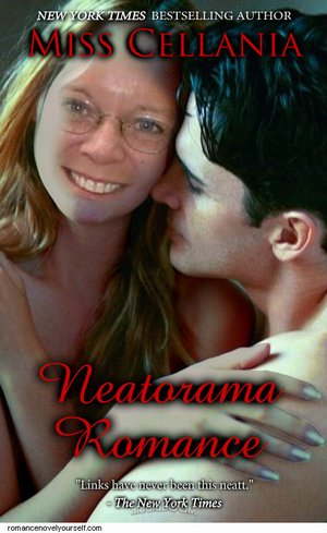 A self-generated romance novel cover, with author's photo as heroine. That's probably her boyfriend as the hero. Don't you just want to jump into your car and speed to the nearest bookstore or power up your e-reader and BUY THIS ROMANCE RIGHT NOW?
