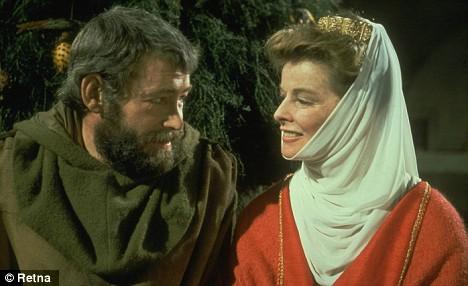 Peter O'Toole, with his hair dyed brown, and Katherine Hepburn in LION IN WINTER. Peter specifically asked Kate, as he called her, to play Queen Eleanor to his King Henry II. She agreed without reading the script.
