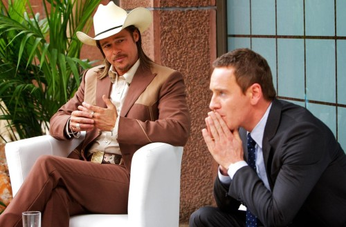 "Brad Pitt as Westray ""counseling"" Michael Fassbender's The Counselor"
