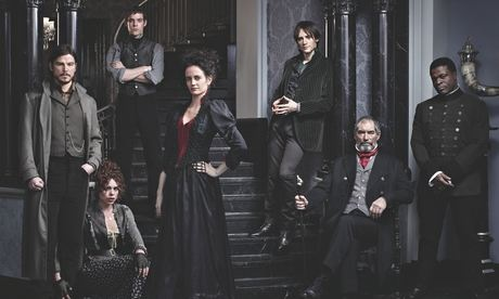 Cast of PENNY DREADFUL (L to R) Josh Hartnett as Ethan Chandler, Billie Piper as Brona Croft, Harry Treadawell as Victor Frankenstein, Eva Green as Vanessa Ives, Reeve Carney as Dorian Gray, Timothy Dalton as Sir Malcolm Murray, and Danny Sapani as Sembene.