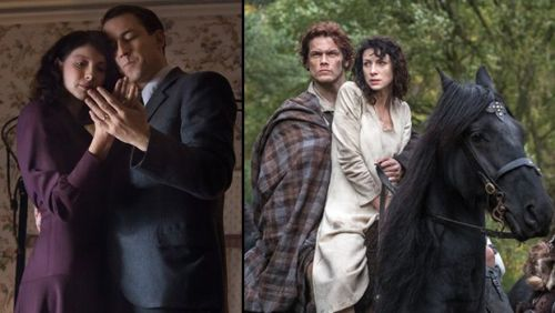 Caitriona Balfe as Claire & Tobias Menzies as husband Frank (L), Sam Heughan as Jaime and Balfe as transported Claire (R)