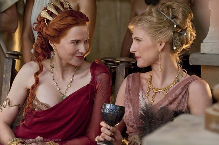 Lucy Lawless as Lucretia & Viva Bianca as Ilythia in SPARTACUS