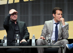 "BEVERLY HILLS, CA - JULY 10: Director Steven Soderbergh (L) and actor Clive Owen speak onstage at the ""The Knick"" panel during the HBO portion of the 2014 Summer Television Critics Association at The Beverly Hilton Hotel on July 10, 2014 in Beverly Hills, California. (Photo by Frederick M. Brown/Getty Images)"