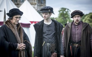 Programme Name: Wolf Hall - TX: n/a - Episode: Ep5 (No. 5) - Picture Shows: (L-R) Thomas Cromwell (MARK RYLANCE), Rafe Sadler (THOMAS BRODIE SANGSTER), Richard Cromwell (JOSS PORTER) - (C) Company Productions Ltd - Photographer: Ed Miller