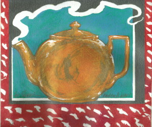 "Barbara Walker's artwork of the ""yellow teapot"", inspired by my poem ""Portrait of the Poet as A Woman,"" from LOVE IN THE TIME OF DINOSAURS_1024"
