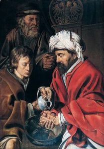 Pontius Pilate, Washing His Hands, by Jan Wouters, c early 1600s